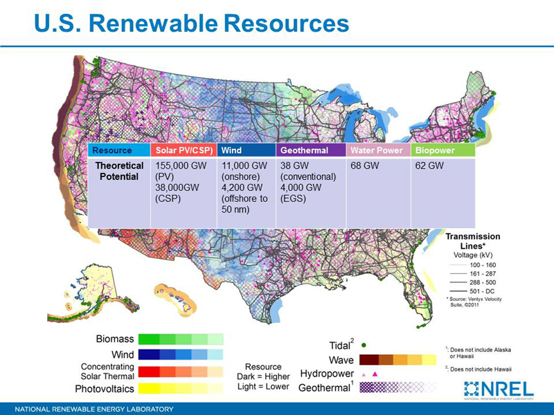 US Renewable Resources Map Highlights Abundance Of Potential - Solar power map us